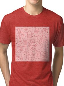 Seamless romantic background of different message of love Tri-blend T-Shirt