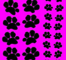 Paw Prints Pattern on Pink by amanda metalcat dodds