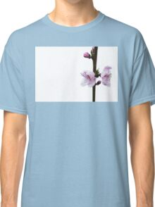Spring pink cherry blossom with white background Classic T-Shirt