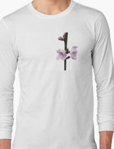 Spring pink cherry blossom with white background Long Sleeve T-Shirt