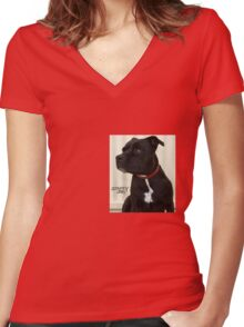 Staffy Dog Women's Fitted V-Neck T-Shirt
