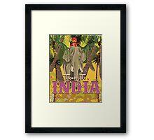 indian elephant vintage travel poster, Framed Print