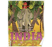 indian elephant vintage travel poster, Poster
