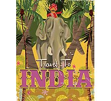 indian elephant vintage travel poster, Photographic Print