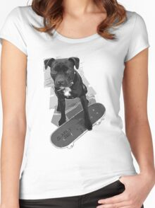 SK8 Staffy Dog black and white Women's Fitted Scoop T-Shirt