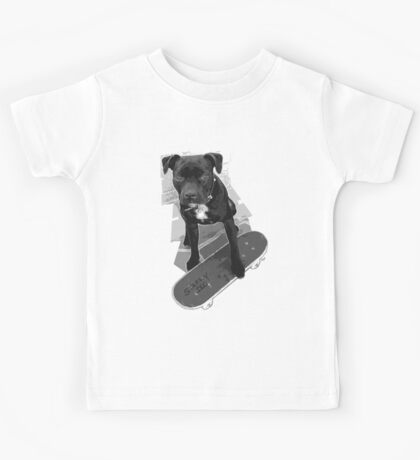 SK8 Staffy Dog black and white Kids Tee