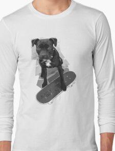 SK8 Staffy Dog black and white Long Sleeve T-Shirt