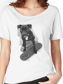 SK8 Staffy Dog black and white Women's Relaxed Fit T-Shirt