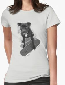 SK8 Staffy Dog black and white Womens Fitted T-Shirt