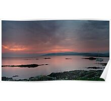 Red Sunset over Sound of Jura Poster
