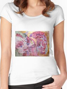If God had meant us to fly he'd have given us wings - Original Wall Modern Abstract Art Painting Women's Fitted Scoop T-Shirt