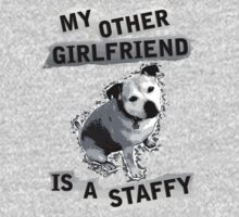 My Other Girlfriend Is A Staffy in Black and White Baby Tee