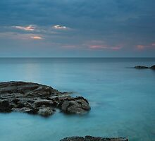 Tortoise shaped rock and Sunset by Sound of Jura by Maria Gaellman