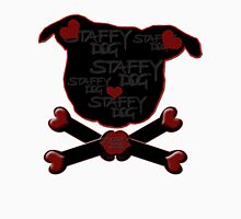 Staffy Dog and Crossbones of Love Womens Fitted T-Shirt