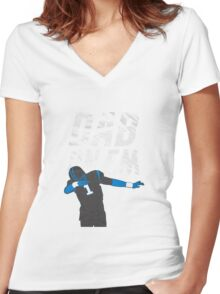 Dab On Em Carolina Panthers Women's Fitted V-Neck T-Shirt