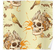 seamless pattern with skull, bird and snail, with blots of paint in background Poster