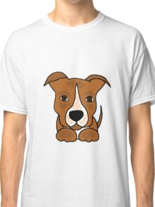 Cool Funny Brown and White Pitbull Puppy Dog Classic T-Shirt