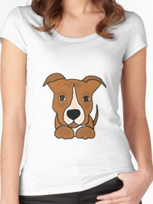 Cool Funny Brown and White Pitbull Puppy Dog Women's Fitted Scoop T-Shirt