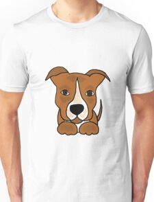 Cool Funny Brown and White Pitbull Puppy Dog Unisex T-Shirt
