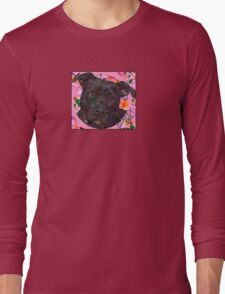 Staffy Dog Goes Floral! Long Sleeve T-Shirt