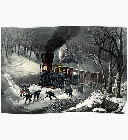 American railroad scene - snowbound - Currier & Ives - 1871 Poster