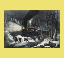 American railroad scene - snowbound - Currier & Ives - 1871 Kids Tee