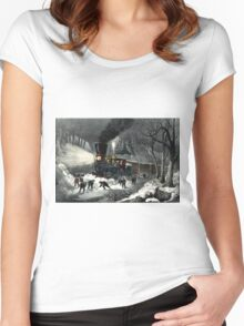 American railroad scene - snowbound - Currier & Ives - 1871 Women's Fitted Scoop T-Shirt