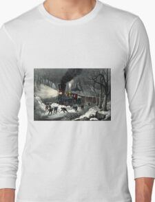American railroad scene - snowbound - Currier & Ives - 1871 Long Sleeve T-Shirt