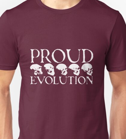 Proud Evolution White Skulls Unisex T-Shirt