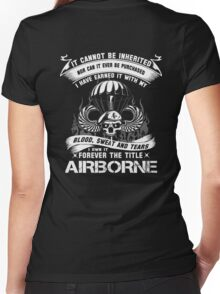 airborne infantry mom airborne jump wings airborne badge airborne brot Women's Fitted V-Neck T-Shirt