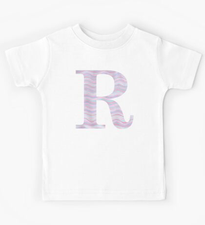 Initial R Rose Quartz And Serenity Pink Blue Wavy Lines Kids Tee