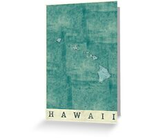 Hawaii State Map Blue Vintage Greeting Card