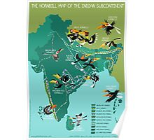 The Hornbill Map of the Indian Subcontinent Poster