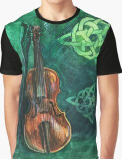 Irish violin (fiddle) on emerald background with celtic ornament Graphic T-Shirt