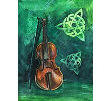 Irish violin (fiddle) on emerald background with celtic ornament Photographic Print