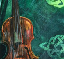 Irish violin (fiddle) on emerald background with celtic ornament Sticker
