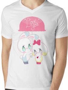 "Little cute bunnies under pink umbrella with words ""LOVE YOU"" Mens V-Neck T-Shirt"
