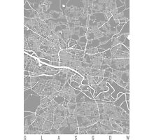 Glasgow map grey Photographic Print