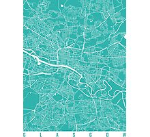 Glasgow map turquoise Photographic Print