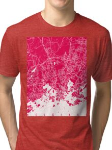 Helsinki map raspberry Tri-blend T-Shirt
