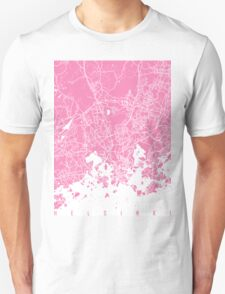 Helsinki map pink Unisex T-Shirt