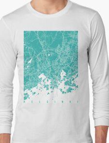 Helsinki map turquoise Long Sleeve T-Shirt