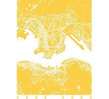 Hong Kong map yellow Photographic Print