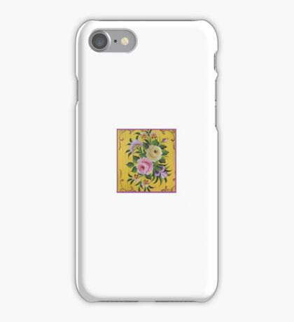 Yellow Pink Victorian Rose Folk Art Garden Floral Design Material Fabric Cotton Duvet by Kirsten iPhone Case/Skin
