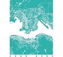 Hong Kong map turquoise Photographic Print