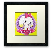 "Cute little bunny gil ""I LOVE YOU"" Framed Print"