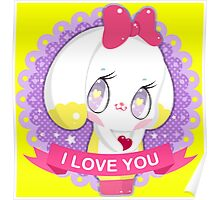"Cute little bunny gil ""I LOVE YOU"" Poster"