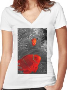 Spinecheek Anemonefish - selective colourisation Women's Fitted V-Neck T-Shirt