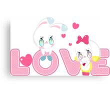 Two cute bunnies on a background of the word LOVE Canvas Print