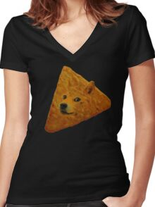 Doge Doritos In Space Women's Fitted V-Neck T-Shirt
